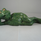 Green Ceramic Novelty Garden Pond Amphibian Frog Figurine Ornament Decoration.