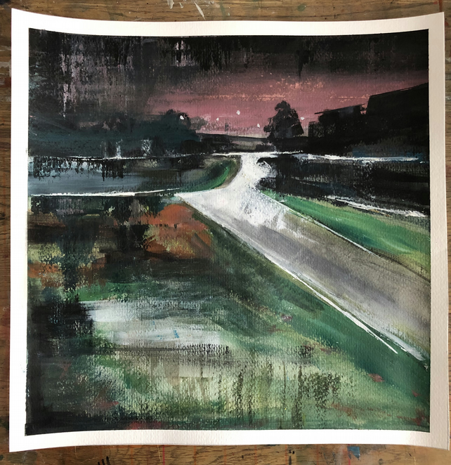 "Original abstract acrylic painting landscape night scene approx 14"" x 14"""