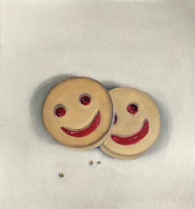 "Original Oil Painting on paper 9"" x 9.5"" Smiley Face Biscuits Still life 7th Sep"