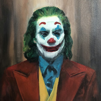 "Original Oil Painting on canvas panel 12"" x 10"" Portrait of The Joker 2020"