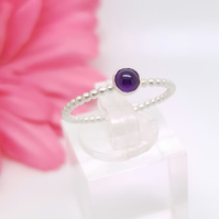 Sterling silver and amethyst stacking ring