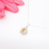 Citrine and sterling silver daisy or flower pendant