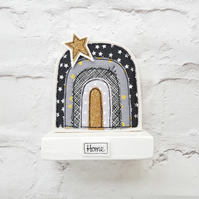Handmade Rainbow decorative ornament in black grey and gold