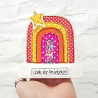 Rainbow decorative ornament in bright summer colours