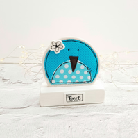 Bird ornament decoration in aqua blue