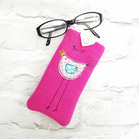 Pink bird glasses case or phone cover