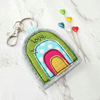 Rainbow keyring bag charm in fabric