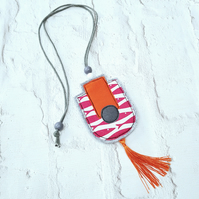 Geometric shape fabric statement necklace in orange berry and grey