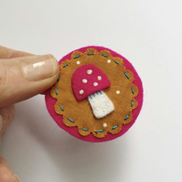 Cute toadstool fabric collage brooch