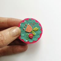 Fabric collage brooch - hot pink and turquoise