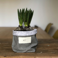 Black and white striped plant pot cosy - grey and white lining