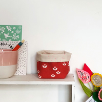 Red and pink mini fabric basket