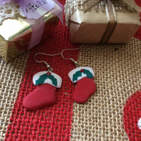 Christmas Stocking Novelty Fimo Earrings Matte