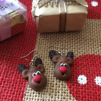 Rudolph Novelty Fimo Earrings