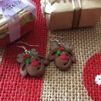 Reindeer Novelty Fimo Earrings