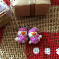 Christmas Novelty Fimo Earrings  SNOWMAN (CERISE)