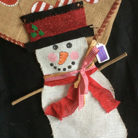 Hessian Snowman Wall Hanging