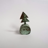 Copper Christmas Tree Sculpture with Green Patination - No 2