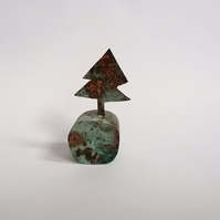Copper Christmas Tree Sculpture with Green Patination - No 1