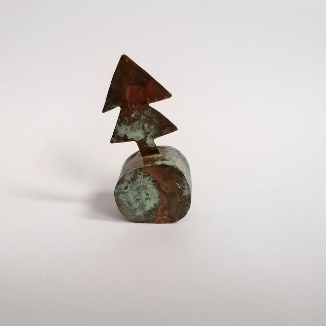 Copper Christmas Tree Sculpture with Green Patination - No 4