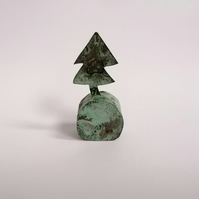 Copper Christmas Tree Sculpture with Green Patination - No 3