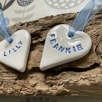 Ceramic personalised heart name plaques, Christmas decorations, labels