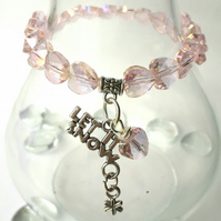 Let it Snow Charm with Pink Crystal Heart Bracelet, Christmas Ideas, Love Gift x