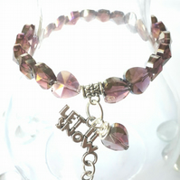Let it Snow Charm with Amethyst Crystal Heart Bracelet, Gift Ideas, Love Gift xx