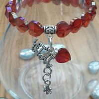 Let it Snow Charm with Red Crystal Heart Bracelet, Christmas Ideas, Love Gift x