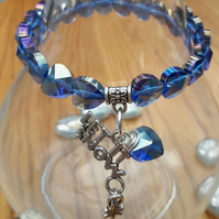 Let it Snow Charm with Blue Crystal Heart Bracelet, Christmas Ideas, Love Gift x