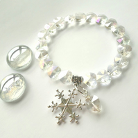 Snowflake Charm with Crystal Heart Bracelet, Christmas Ideas, Love Gift  x