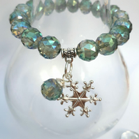 Snowflake Charm with Electric Green Crystal Bracelet, Christmas Ideas, Love Gift