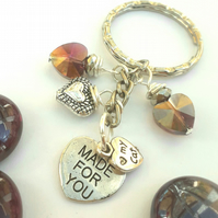 My Cat Charm with Purple Crystal Heart Keyring or Handbag, Gift Ideas xx