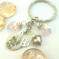 My Cat Charm with Crystal Heart Pink Keyring or Handbag, Gift Ideas xx