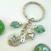 My Cat Charm with Crystal Heart Teal Keyring or Handbag, Gift Ideas xx