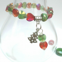 Christmas Tree Charm with Crystal Heart Bracelet, Love Gift, Stocking Filler x