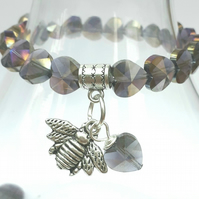 Bumble Bee Charm with Purple Haze Crystal Heart Bracelet, Gift Ideas, Love Gift