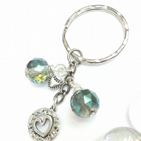 Heart Charm with Electric Green Crystal Keyring or Handbag, Love Gift xx