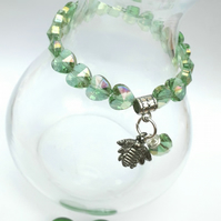 Bumble Bee Charm with Lime Green Crystal Heart Bracelet, Gift Ideas, Love Gift x