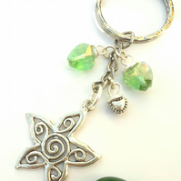 Flower Charm with Lime Green Crystal Heart Keyring or Handbag, Gift Ideas xx