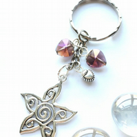Flower with Amethyst Crystal Heart Bag Charm or Keyring. Flower Jewellery