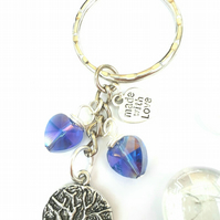Tree of Life with Crescent Moon Charm, Sparkly Blue Crystal Bag Charm or Keyring