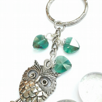 Cute Owl Crystal Heart Bag Charm or Keyring. Nature, Woodland, Owl Jewellery