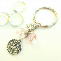 Tree of Life with Crescent Moon Charm, Sparkly Pink Crystal Bag Charm or Keyring
