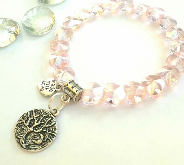 Tree of Life with Crescent Moon Charm, Pink Crystal Heart Bracelet, Love Gift xx