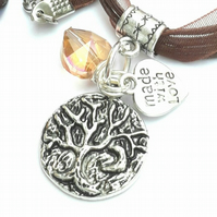 Tree of Life with Crescent Moon Charm, Crystal Heart Necklace, Love Gift xx