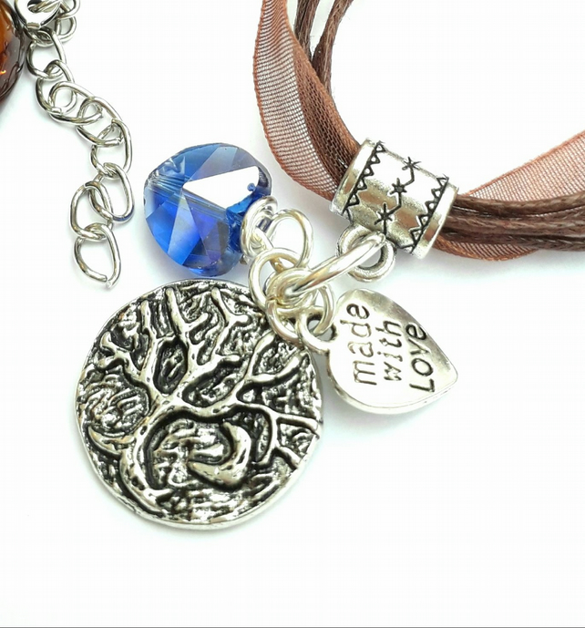 Tree of Life with Crescent Moon Charm, Blue Crystal Heart Necklace, Gift Ideas x
