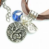 Tree of Life with Crescent Moon Charm, Blue Crystal Heart Necklace, Hippie