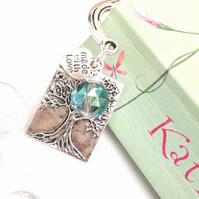 Tree of Life Charm Bookmark, Electric Green Crystal, Love Gift, Nature Lovers
