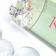 Cute Cat Charm Bookmark, Clear Crystal Heart, Cat Gift, Gift Ideas, Nature Gift